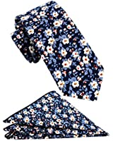 Mens Cotton Skinny Floral Tie Combo Set with Pocket Square TC076C