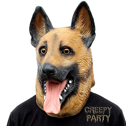 CreepyParty Halloween Kostüm Party Tierkopf Latex Maske Deutscher Schäferhund Karneval Masken
