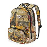 Mochila multifunción Travel Vintage Paris Poster Casual Daypack Bookbag Shoulder Bag