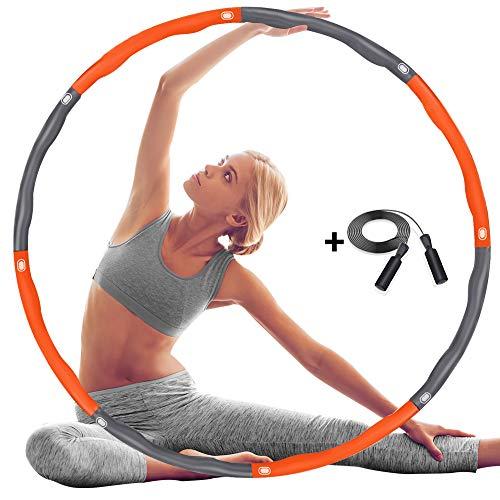 DUTISON Hula Hoop Reifen, Übung Gewichteter Hula-Hoop-Reifen mit Schaumstoff Einstellbar, Abnehmbares und Größenverstellbares Design für Fitness (4 Knoten Grau + Orange) mit Springseil Jump Rope