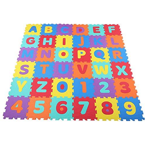 Ejoyous Letras Goma Espuma Alfombrilla de Juego, Puzzle Alfombrilla con Alfabeto para Niños Números, Alfombra de Juego para Niños 36 Piezas Tapete con Números del Alfabeto 30 x 30 x 1 cm
