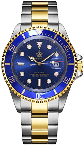 Mens Luxury Watches Rotatable Bezel Sapphire Glass Luminous Hand Quartz Silver Tone Stainless Steel Watch Blue Dial