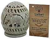 CRAFKART Stone Tealight Holder | Hand Carved Elephant Floral Motif | Soapstone | Votive | Rosette Pattern | Intricate Tendril Art Work | Decorative Home Decor | Home Party Spa Reiki Aromatherapy