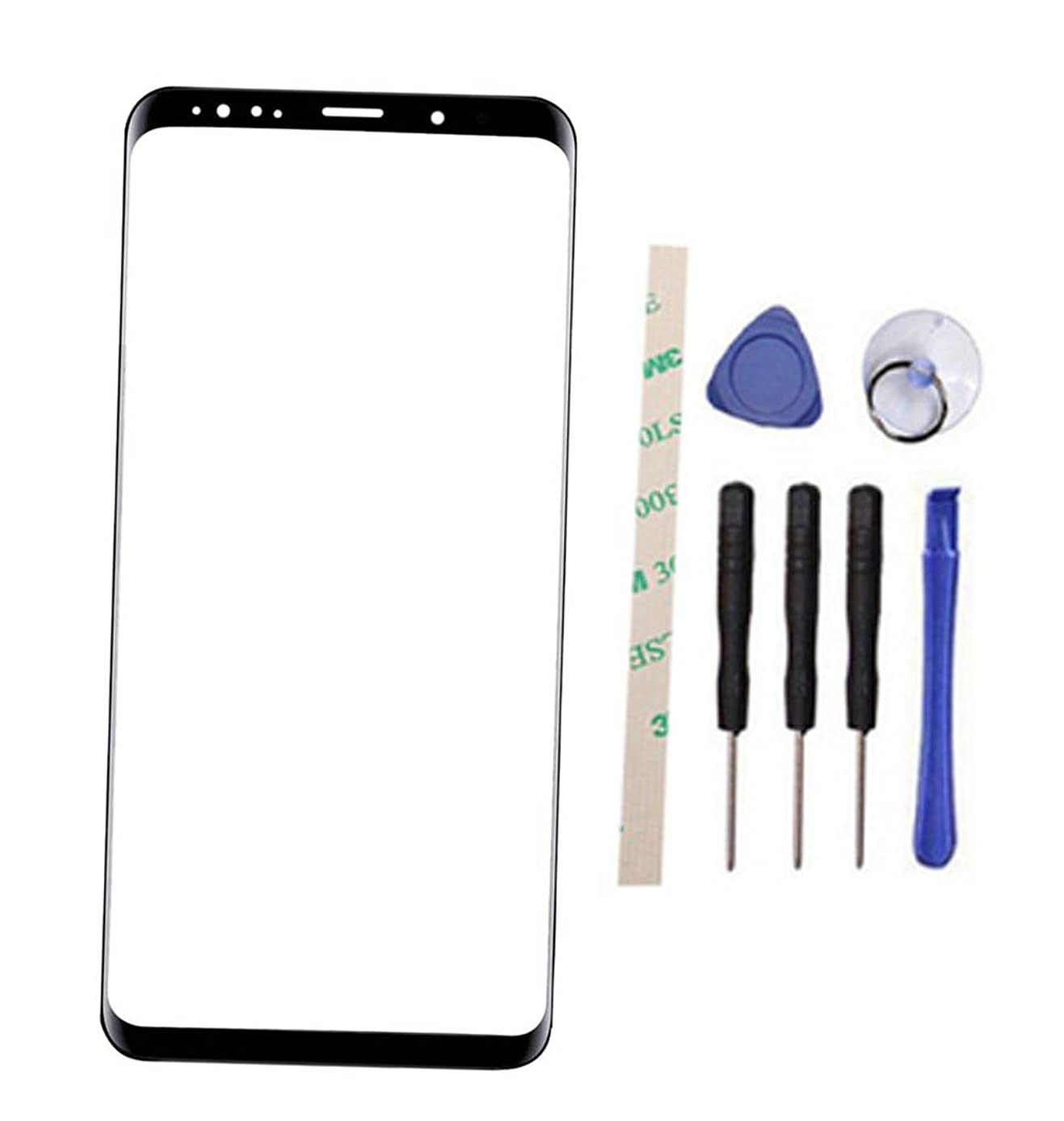 """General 100% Real Glass Outer Screen Front Glass Lens Replacement for Galaxy S9+ S9 Plus G965 G965U G965W G9650 SM-G965F SM-G9650/DS SM-G965F/DS 6.1"""" All Carriers (Not LCD and Not digitizer) (Black)"""