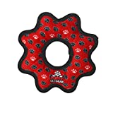 TUFFY Ultimate Gear Ring, Durable Dog Toy (Regular, Red Paw)