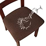 Genina Waterproof Seat Covers for Dining Room Chairs Covers Dining Chair seat Covers Kitchen Chair Covers slipcovers (Chocolate, 4 Pcs)