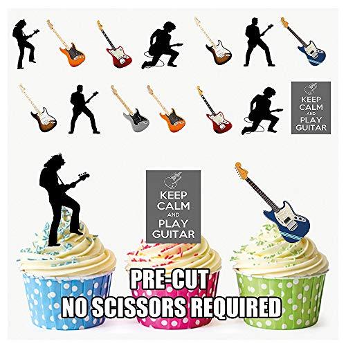 """Ak Giftshop Törtchen-Dekorationen, essbar, vorgeschnitten, """"Keep Calm & Play Guitar""""-Motiv, für Cupcakes/Torten, 36 Stück"""