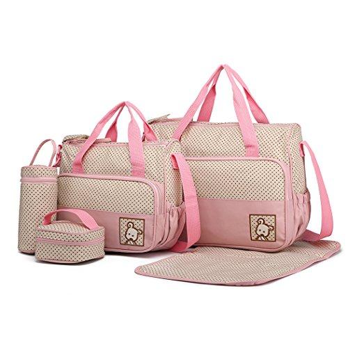 Miss Lulu 5pcs Borse Fasciatoio per neonati Set Multifunzione Pannolino Messenger Borsa da maternità in poliestere per ospedale Set con punti stampa design (Rosa)