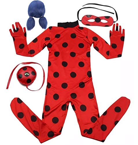 EMIN Niño Disfraz de Miraculous Ladybug de Vestuario Costume Overall del Partido de Cosplay Halloween Carnaval de Manga Larga de Lentejuelas Puntos de Polca del Mono máscara de Ojos + Bolso + Peluca