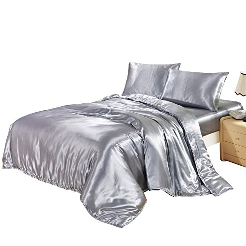 HYSENM Set Bettwäsche Kissenhülle x 2 Satin einfarbig glatt bequem Verschiedene Größen, Grau Bettwäsche(135 x 200cm)+1 x Kissenhülle(50 x 75cm)