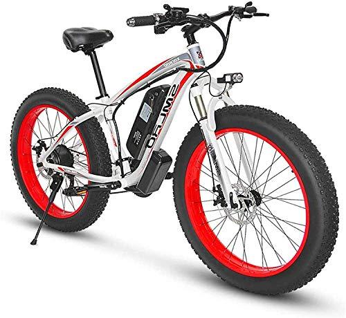 MQJ Ebikes 26 Pulgadas de Grasa E-Bicicleta de Bicicleta Eléctrica para Adultos, Aleación de Aluminio de 500 Vatios Todo Terreno E-Bicicleta Extraíble 48V / 15Ah Batería de Montaña de Batería de Ione
