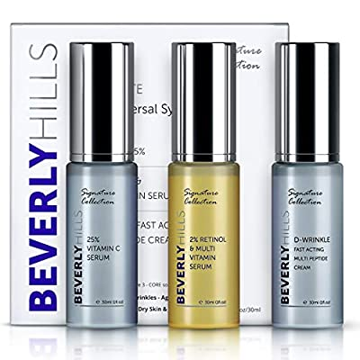 Anti Ageing Skin Care Gift Set - Retinol Serum (2%), Vitamin C Serum for Face (25%), and Anti Wrinkle Cream by Beverly Hills