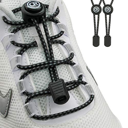 ONLY RUN Elastische Schnürsenkel ohne Binden mit Schnellverschluss perfektes Schnellschnürsystem für Kinder und Erwachsene - Schuhbänder - Gummischnürsenkel ohne Binden (1 Paar refl. schwarz)