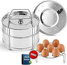 Best Value-Larger Stackable Steamer Insert Pans for your Pressure Cooker,Instant Pot Accessories 6 qt, 8 quart w 2 lids.Perfect Insta Pot in Pot Accessory Set.Bonus-EBook & Trivet/Egg Rack included