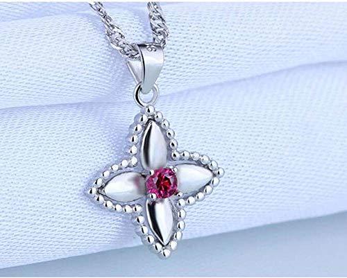 LXIANGP Anhänger Blume 925 Sterling Silber Anhänger Diamant Kurze Schlüsselbein Kette 22mm * 15mm
