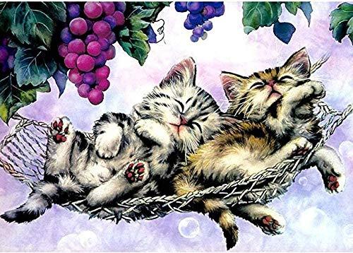 DIY digitale Kinderzeichnung Erwachsenenmalerei Wandbild Dekoration Acrylmalerei Zwei K?tzchen schlafen in einer H?ngematte 40x50cm