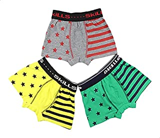 Skills Cotton Star-Pattern Striped Boxers Set for Boys - 3 Pieces, Multi Color, 24 Months