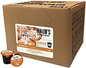 Maud's Salted Caramel Coffee (Dreamy Creamy Caramel), 100ct. Solar Energy Produced Recyclable Single Serve Salted Caramel Flavored Coffee Pods – 100% Arabica Coffee California Roasted, KCup Compatible