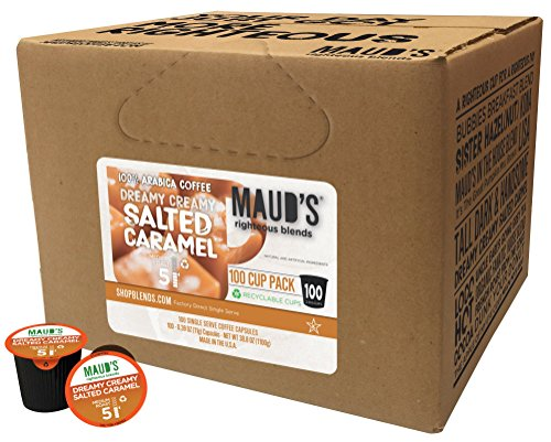 Mauds Salted Caramel Coffee (Dreamy Creamy Caramel), 100ct. Solar Energy Produced Recyclable Single Serve Salted Caramel Flavored Coffee Pods