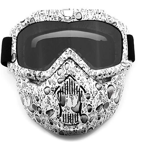 SPOSUNE Gafas de motocicleta máscara facial desmontable, ATV Dirt Bike Motocross MX Riding Paintball gafas a prueba de polvo UV400 gafas con espuma suave, correa ajustable para hombres y mujeres