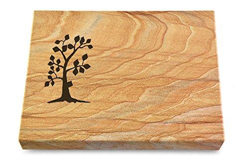MEMORUM Grabmale Grabtafel, Grabplatte, Grabstein, Grabkissen, Urnengrabstein, Liegegrabstein Modell Pure 40 x 30 x 3-4 cm Rainbow-Granit, poliert inkl. Gravur (Sandstrahl-Ornament Baum 1)