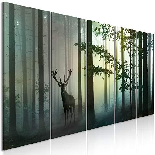 decomonkey Bilder Hirsch 200x80 cm 5 Teilig Leinwandbilder Bild auf Leinwand Wandbild Kunstdruck Wanddeko Wand Wohnzimmer Wanddekoration Deko Tiere Wald Natur