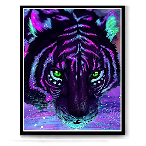kuou Tiger DIY 5D Diamond Painting Full Kits, Full Drill Diamond Painting Kits Crystal Embroidery Pictures Cross Stitch Art Craft for Home Decor (16x20in/40x50cm)