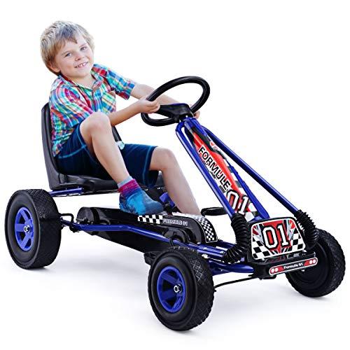 DREAMADE Kinder Go Kart Tretfahrzeug, Tretauto mit Bremsen, Kinderfahrzeug Pedalfahrzeug mit Verstellbarem Sitz (Blau)