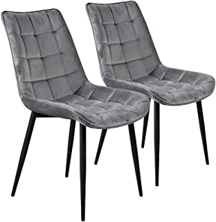 Flesser Dining Chair Set of 2 Mid Century Modern Side Chair for Kitchen,Bedroom,Dining and Living Room(2, Gray)