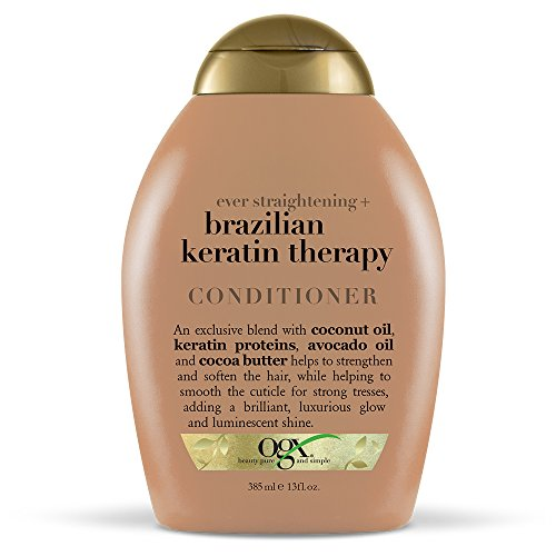 OGX Ever Straightening + Brazilian Keratin Therapy Hair-Smoothing Conditioner with Coconut Oil, Cocoa Butter & Avocado Oil, Paraben-Free, Sulfate-Free Surfactants, 13 floz