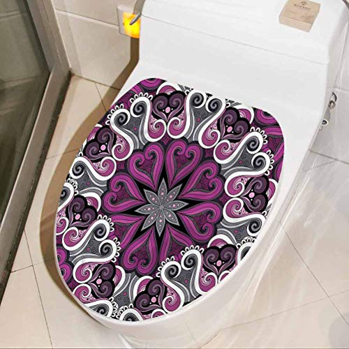 Homesonne Waterproof Toilet Decals Abstract, Ornamental Floral Funny Toilet seat Vinyl Decal Sticker Also for use on Walls/Cars/Tablets 8 x 11 Inch