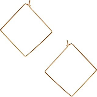 Threader Hoop Earrings for Women - Hypoallergenic Lightweight Thin Wire Dainty Drop Dangles in Heart, Geometric Square - Plated in 925 Sterling Silver or 18k Gold, by Humble Chic NY