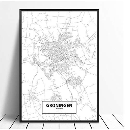 Groningen, Nederland Zwart Wit Custom World City Map Poster Canvas Print Nordic Style Wall Art Home Decor-60x80cm Geen Frame