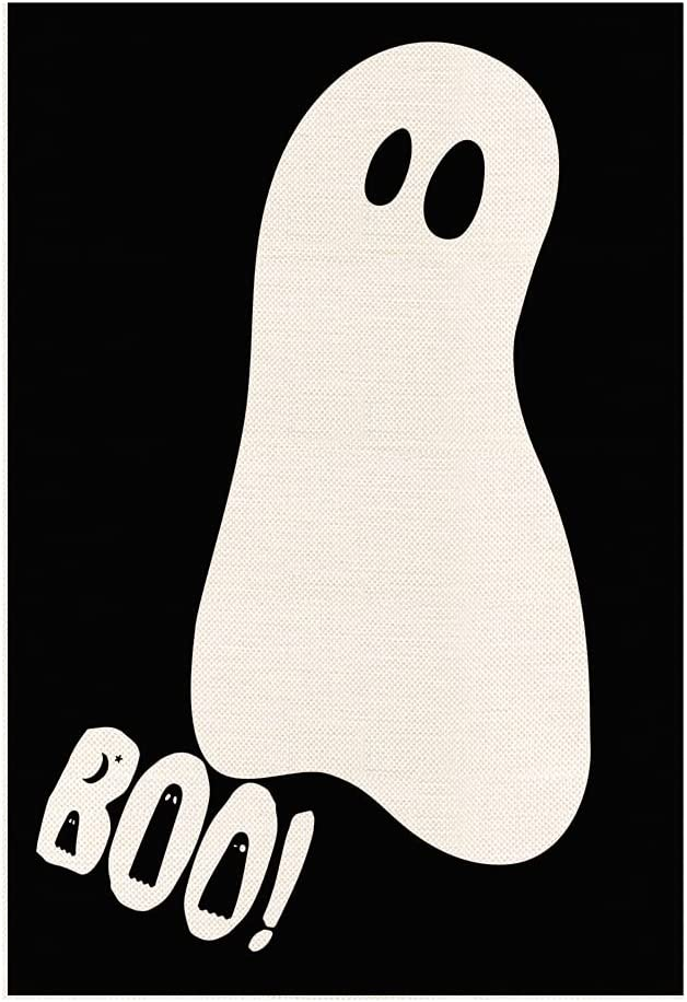 MONORD Halloween Boo Ghost Garden Flag Vertical Double Sided Yard Outdoor Decor 12 x 18 Inch