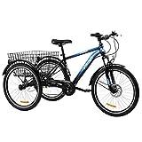 Z ZELUS 24 Zoll Dreirad für Erwachsene 7 Geschwindigkeit Zahnräder mit Warenkorb 3