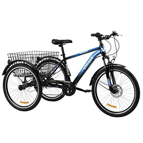 Z ZELUS 24 Zoll Dreirad für Erwachsene 7 Geschwindigkeit Zahnräder mit Warenkorb 3 Rad Fahrrad für Erwachsene Tricycle (Blau)