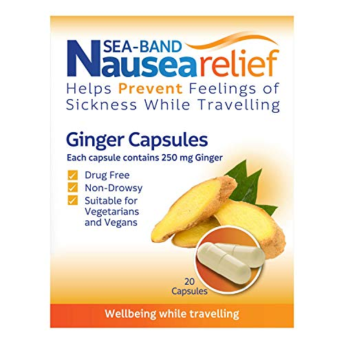 Sea-Band Nausea Relief Ginger Capsules for Travel Sickness Relief, 25 g