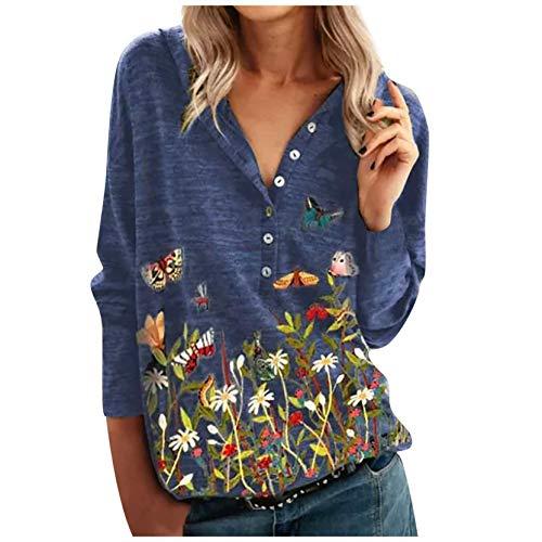 Sudadera para Mujer Moda de Manga Larga con Cuello en V Estampado Floral de Mariposa, Casual Primavera Otoño Pullover Suéter de Mujer Blusa Barata Abrigo Deportivo 2021