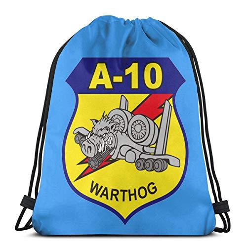 A-10 Warthog Mochila con cordón para cumpleaños, bolsa de cuerda de regalo, bolsa de gimnasio, bolsa de cincha para escuela y fiesta, 36 x 43 cm