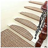 AQSND Juego de 15 peldaños antideslizantes para escaleras, seguridad para niños ancianos y perros con alfombra autoadhesiva reutilizable, rayas curvadas (tamaño: 24 x 90 cm, color marrón claro)