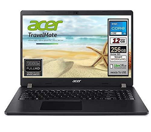 Notebook SSD Acer Intel i5 10th, RAM 12 GB, SSD 256Gb, display 15.6 Full hd led, Svga Intel HD 600, 4 USB, Wi-Fi, hdmi, bt, Lan, Win 10 Pro, tastiera retroilluminata, Pronto all'Uso, Garanzia Italia