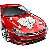 DASIAUTOEM Autoschmuck Hochzeit, Herz Rose Deko Auto Schmuck Brautwagen Girlande Dekoration Wedding Deko Ratan, Autoschmuck Hochzeit Romantische Atmosphäre