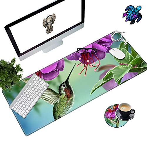Desk Pad Mat Large Mouse Pad XL Extended Mousepad Gaming with Hummingbird Flower 31.5' 11.8' Huge Mouse Pads for Computer Laptop Home Office + Cup Coaster and Cute Stickers
