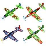 Beetest Avion Polystyrene Planeur, 24 PCS Main-Jeter DIY Rond-Point Mousse Avion Avion Planeur Avions Modèle Jouets pour Enfants Enfants Cadeaux Prix Récompenses Aléatoire Style