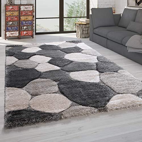 Paco Home Hochflor Teppich Wohnzimmer Shaggy Weich 3D Muster, Soft Garn in versch. Designs, Grösse:160x230 cm, Farbe:Grau 4