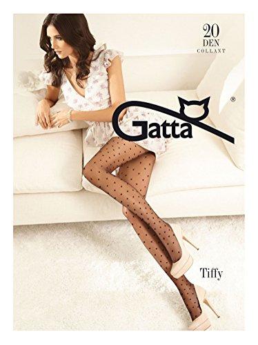 Gatta Fashion Tiffy 01-20den - modisch-gemusterte, transparente Party Feinstrumpfhose mit vielen kleinen Herzchen - Größe 3-M - Nero-schwarz