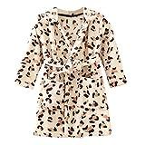 Baby Boys Girls Flannel Bathrobe Cow Leopard Print Thick Warm Night-Robe Pajamas, Coffee, 12-24 Months