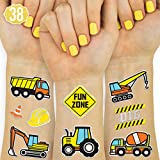 xo, Fetti Construction Party Supplies Temporary Tattoos - 38 Glitter Styles | Digger, Excavator, Bulldozer, Hard Hat, Dump Truck, Road Roller, Cone