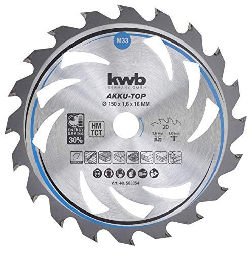kwb 583354 - Hoja de sierra circular de ahorro energético Easy Cut (150 x 16 mm, corte fino con dentado especial de 20 dientes)