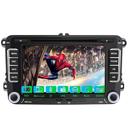 Autoradio 2 Din per Volkswagen VW Passat Polo Skoda Seat, 7 Pollici GPS Navigatore Satellitare Auto, Car Radio Supporta la funzione Comandi al volante Bluetooth Vivavoce CD DVD SD RDS DAB+